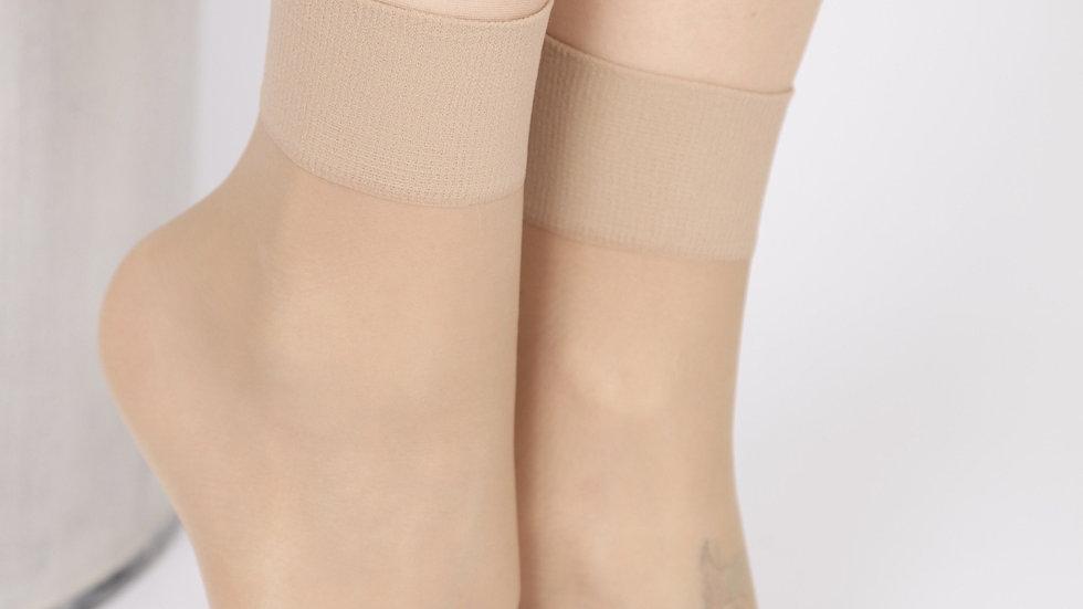 FEM sheer nude socks, 2-pack