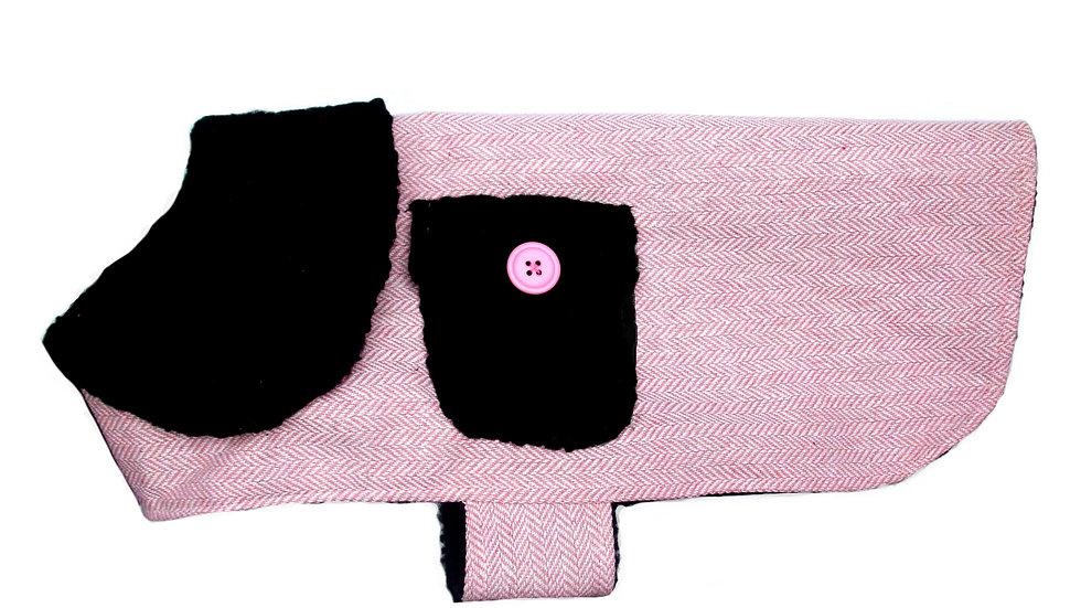 Bougie Pink Herringbone Dog Coat