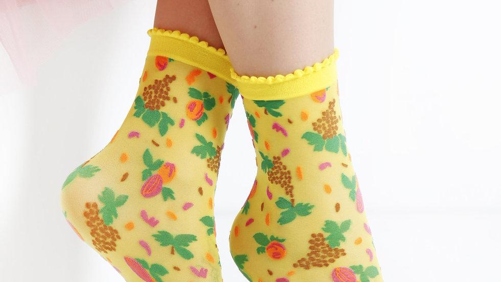 MICOL sheer Sweetie yellow socks for women