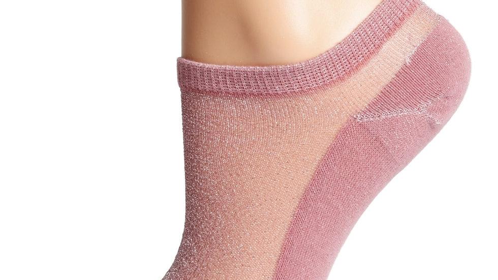 LUCINA old rose glittery socks for women