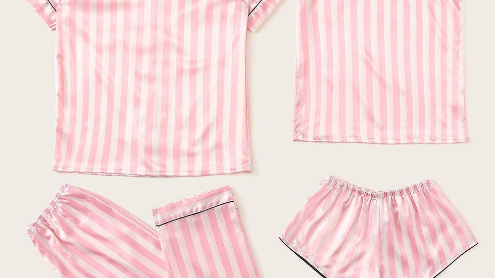 4pcs Striped Satin Pajama Set