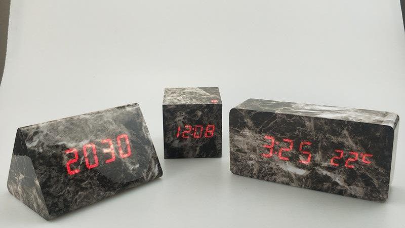 Marble wood clock