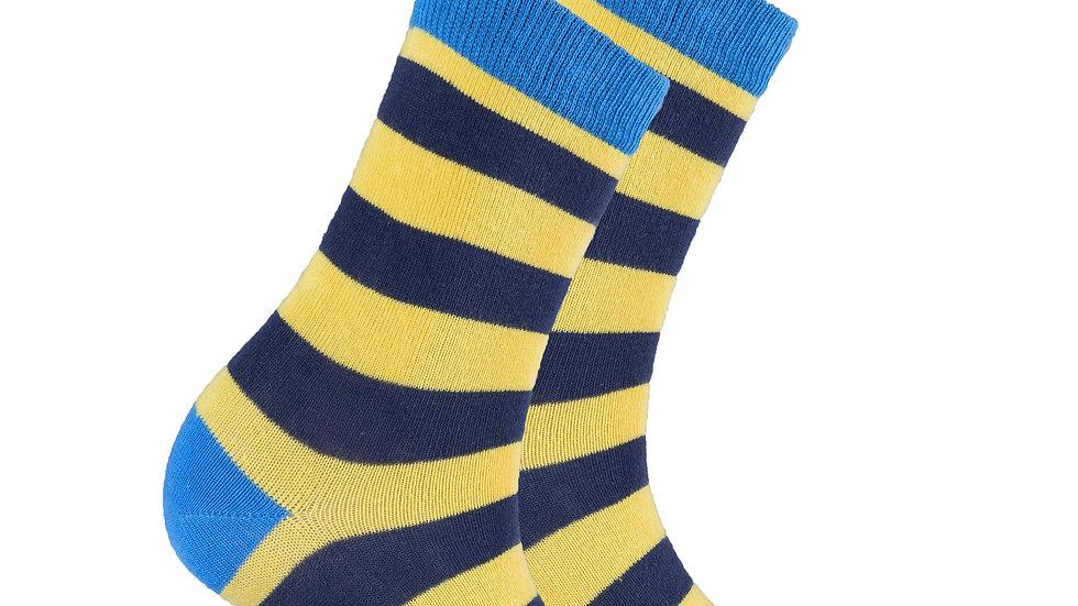 Women's Blue Canary Stripe Socks