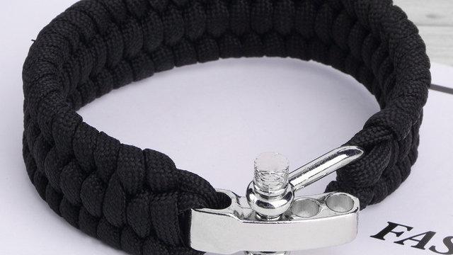 Black ParaCord Rope Outdoor Survival Bracelet