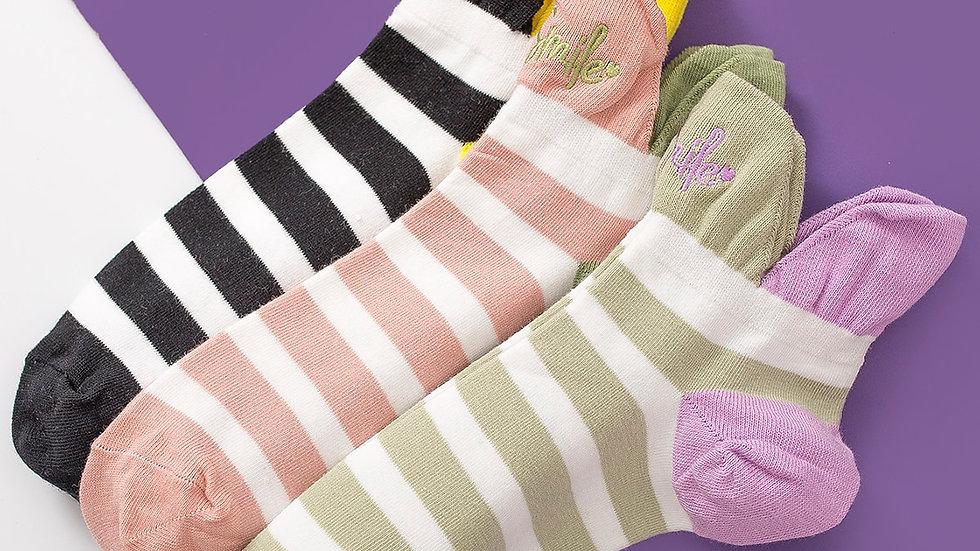 3pairs Colorblock Striped Socks