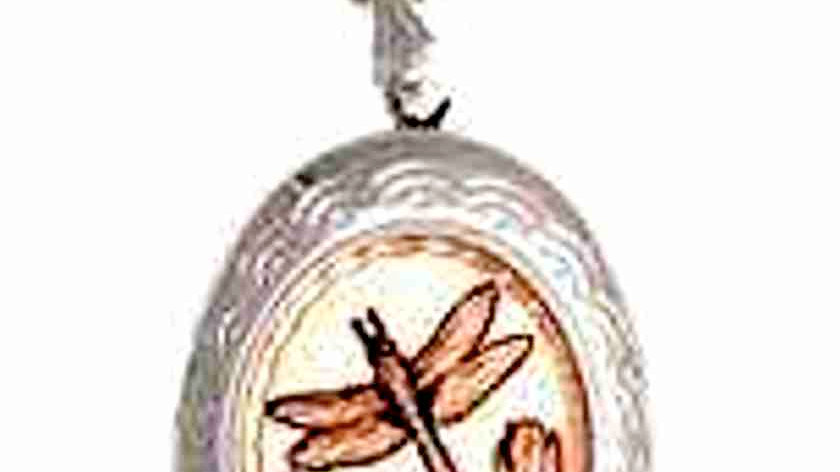 Handcraftedsilver plated &diamond cut on copper Dragonfly