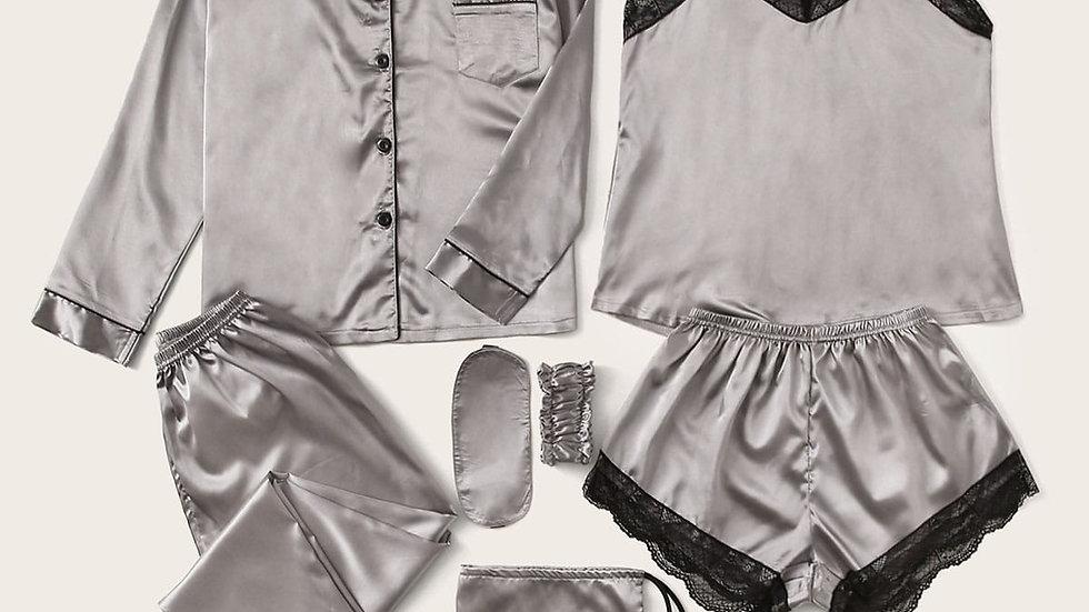 7pcs Lace Trim Satin Pajama Set