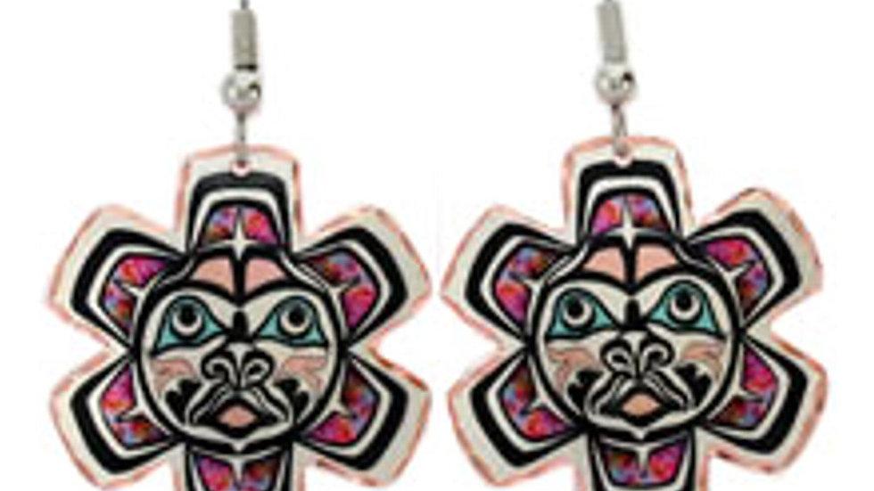 Handmade unique all copper earrings Totem Sunburst