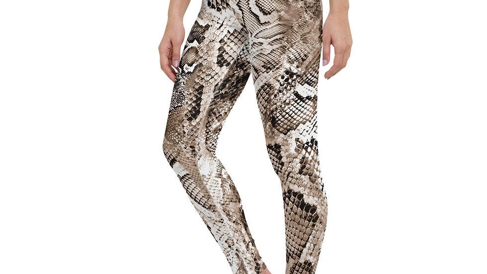 High Waisted Snake Skin Printed Leggings