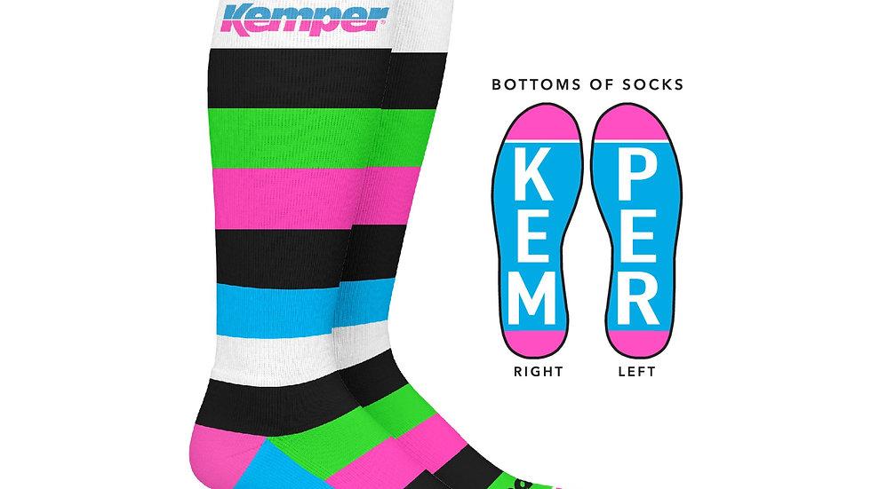 Kemper Snowboards Stripe Knee Snowboard Sock