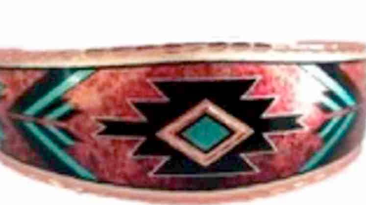All Copper Bracelet Hand Made Hopi Metric Design Art