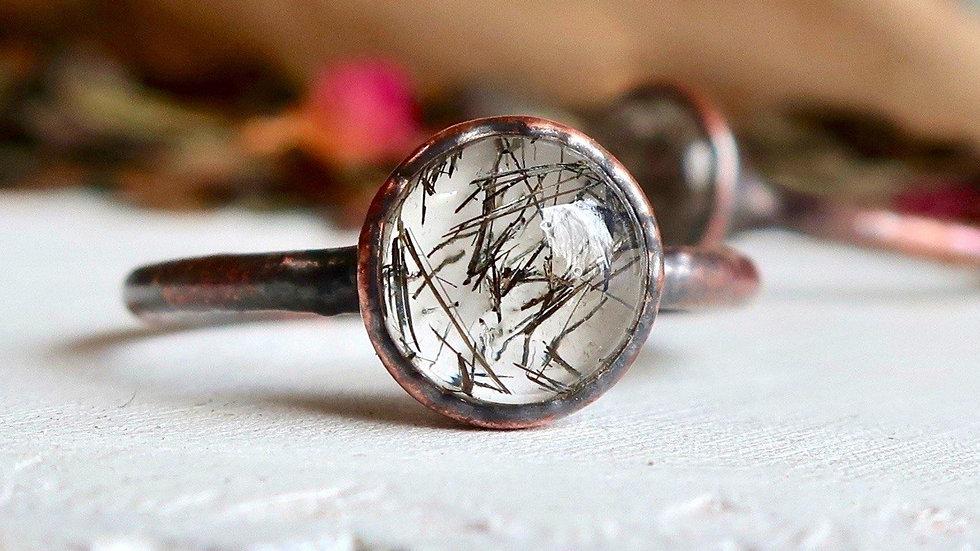 Black Rutilated Quartz Copper Ring 8mm   Electroformed Copper Ring  