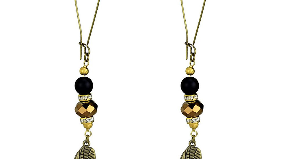 LO3809 - Antique Copper White Metal Earrings with Synthetic Synthetic