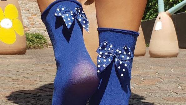 KATJA blue microfiber socks with a bow