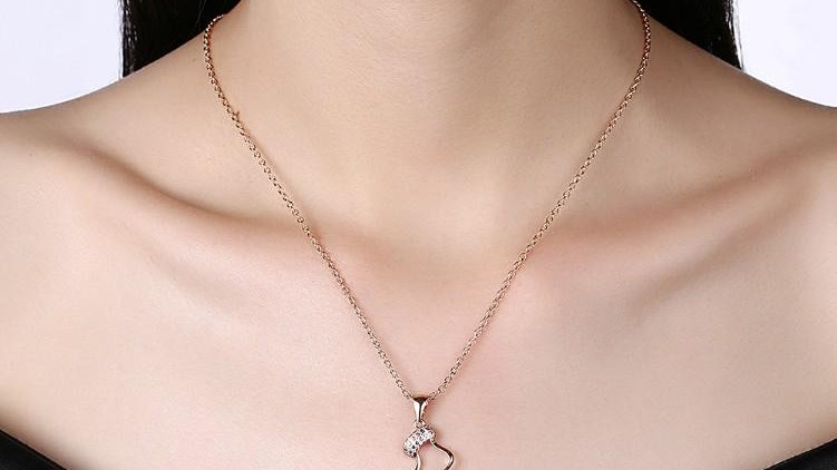 Pave Socks Necklace in 18K Rose Gold Plated - Christmas Collection