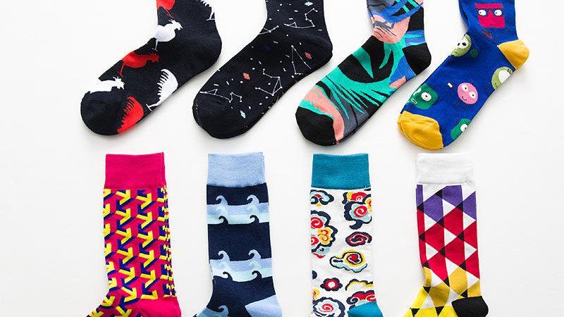 British wind geometry hit color trend Women's socks