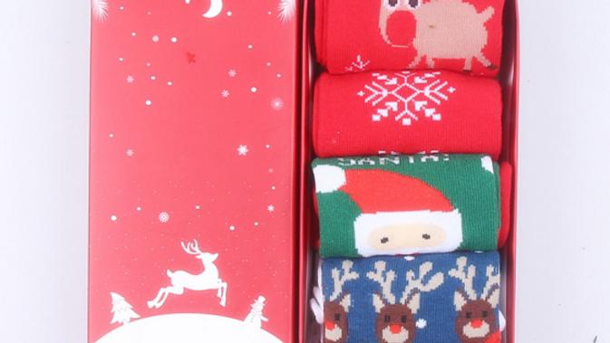Christmas Joy ~ Gift Boxed Socks!  Elk Santa  Snowflake