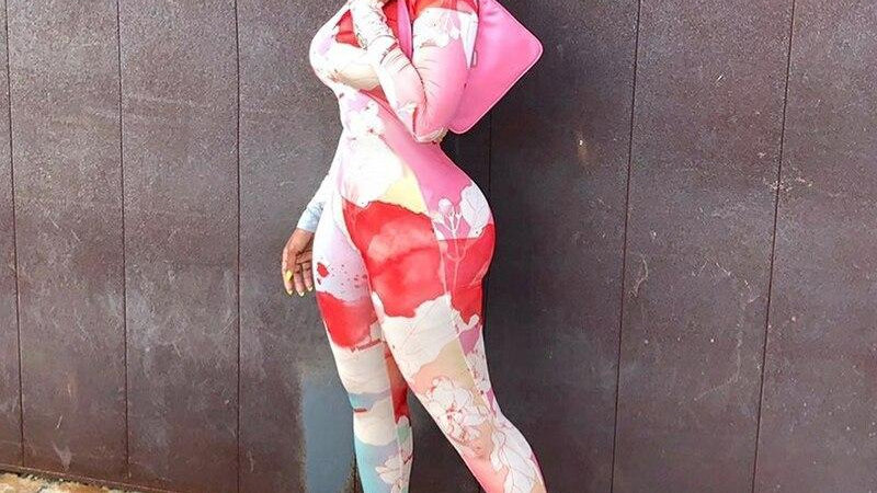 Women Long Sleeve Tie Dye Floral Print Long Jumpsuit