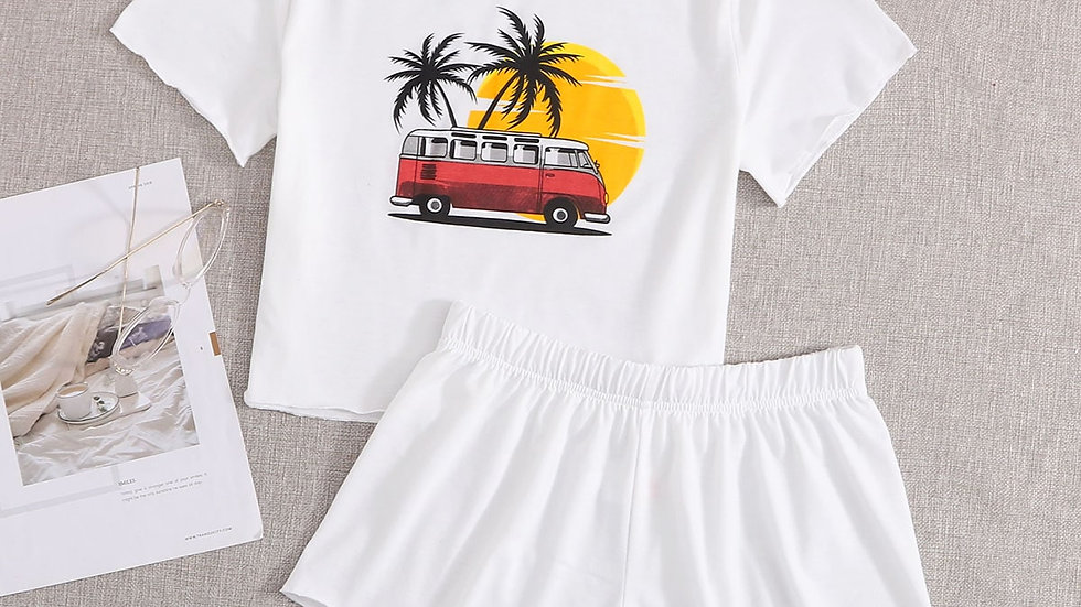 Palm Tree & Bus Print Tee With Shorts PJ Set