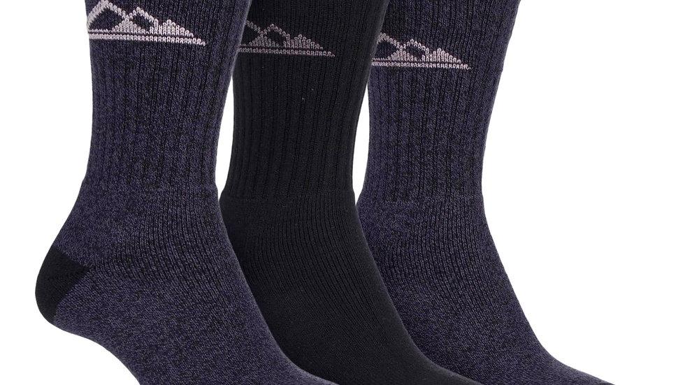 3 Pk Ladies Lightweight Cotton Hiking Socks