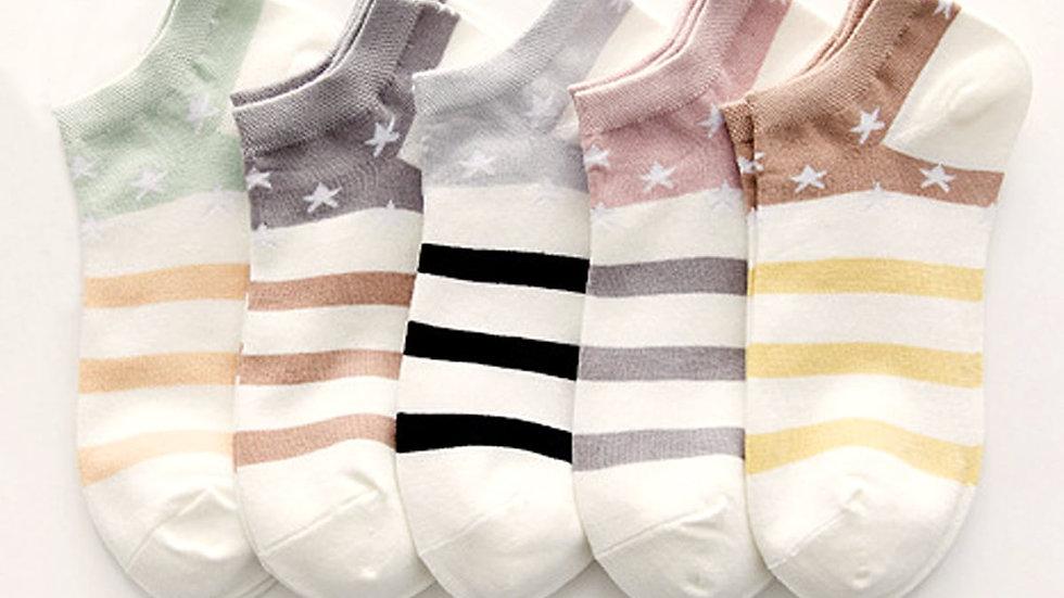 5pairs Striped & Star Pattern Socks