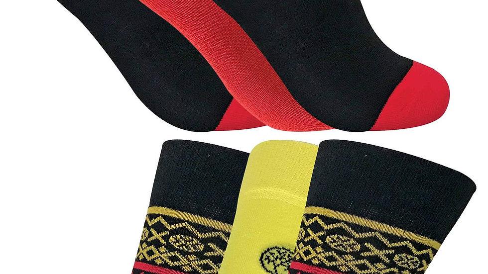 6 Pack Mens Colourful Patterned Bamboo Socks 7-11 UK
