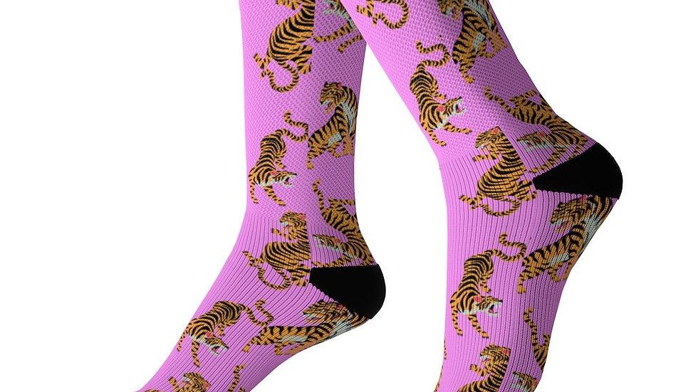 Playful Tiger Fun Socks Pink