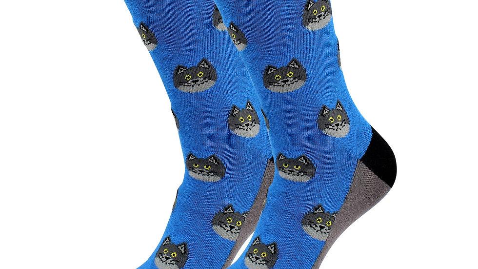 Sick Socks – Blue Cat – Animals Casual Dress Socks