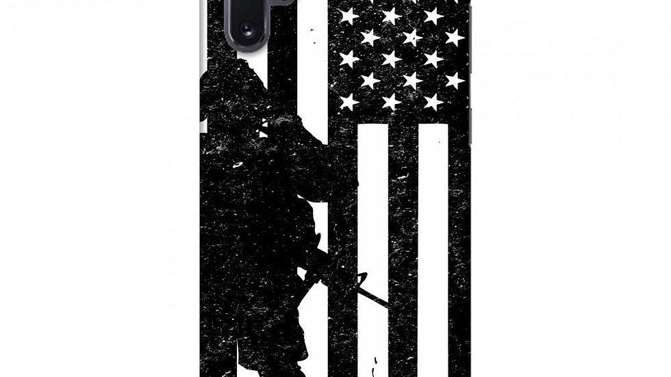 USA Flag - Soldier - Monochrome Slim Hard Shell Case For Samsung