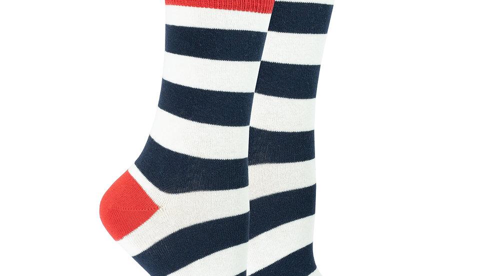 Women's Navy-White Stripes Socks