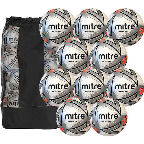 PACK OF 10 WEIGHTED MITRE FOOTBALLS INC. MESH SACK