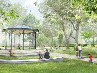 Opération coeur de ville de Comines, réhabilitation du jardin public et de son kiosque