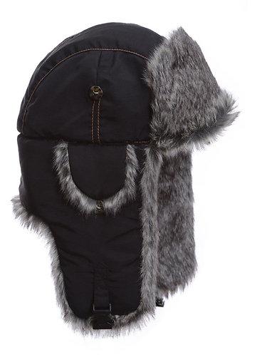 Black Suplex Faux Fur Bomber Hat