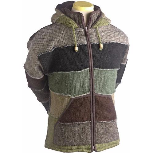 Patchwork Wool Knit Hoodie