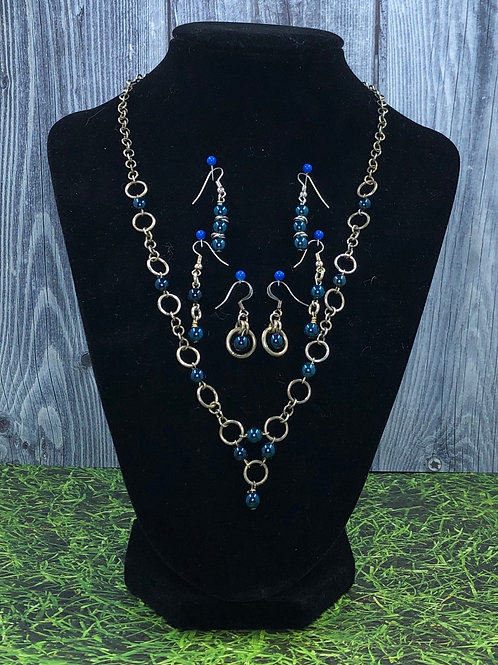 Sterling Silver and Deep Blue Glass
