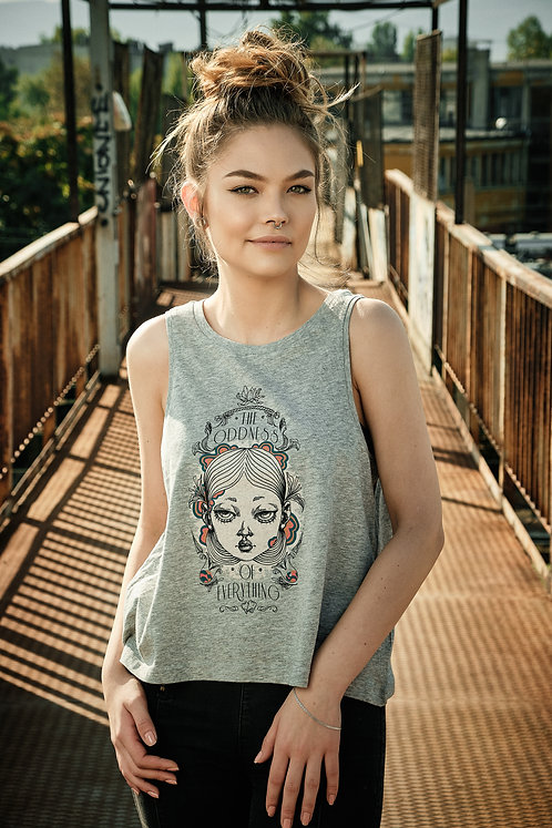 """GREY CROPPED TANK TOP """"THE ODDNESS OF EVERYTHING"""""""