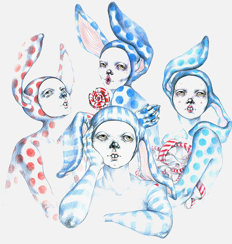 FRAMED ORIGINAL ARTWORKS - RABBIT PEOPLE VOL.2