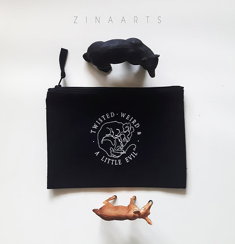 """CARRY-ALL POUCH """"TWISTED,WEIRD & A LITTLE EVIL"""""""
