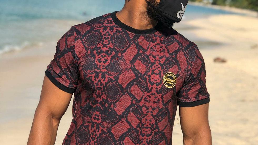 Burgundy snake print tshirt
