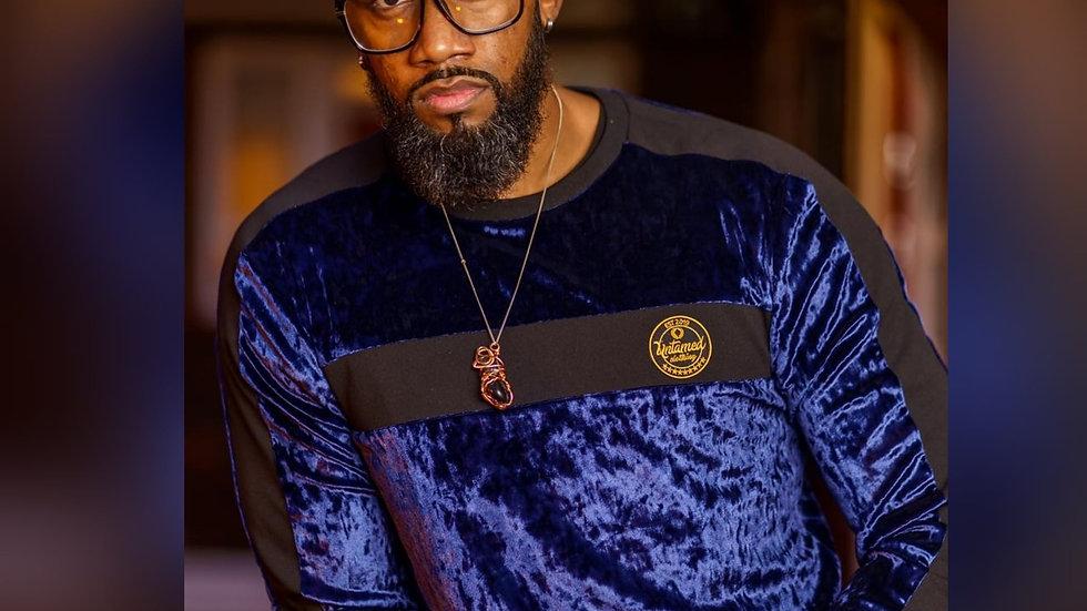 Navy Crushed velvet sweater