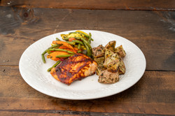 fresh salmon with roasted potatoes and v