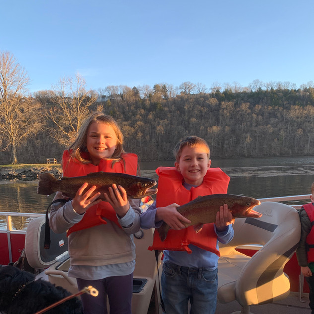 Kids catching trout