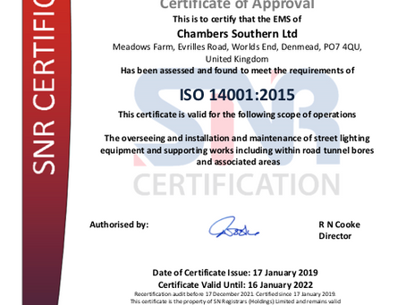 Chambers Southern Ltd receive the Green Light with ISO 14001
