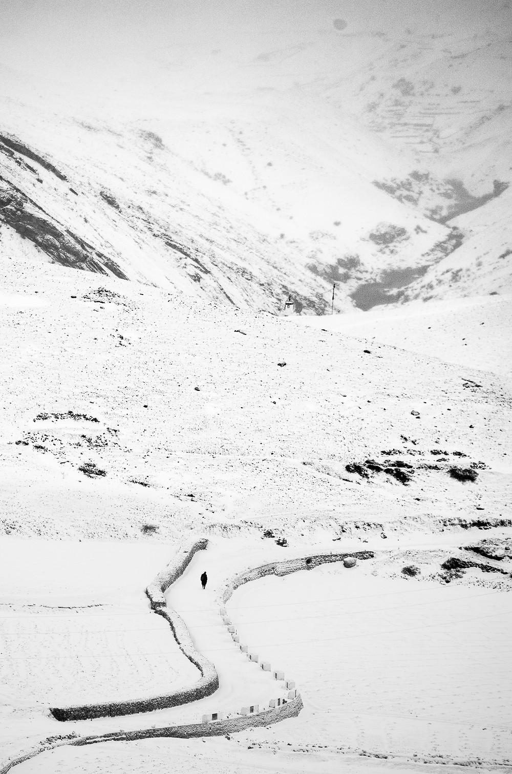 Kibber road in the winter