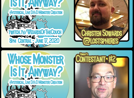 "Luke Gygax and Christen Sowards tonight on ""Whose Monster Is It, Anyway?"""