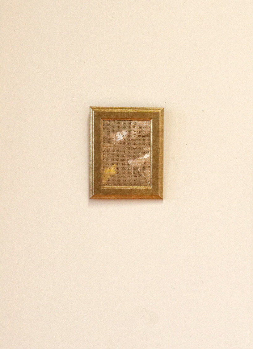 untitled, Ottokaji, 19x24 (cm), Acrylic and oil on hessian, 2018 @Groenzaal