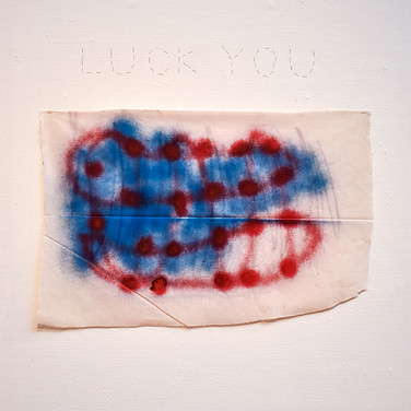 Luck you, Ottokaji, 2018, Spray on cotton