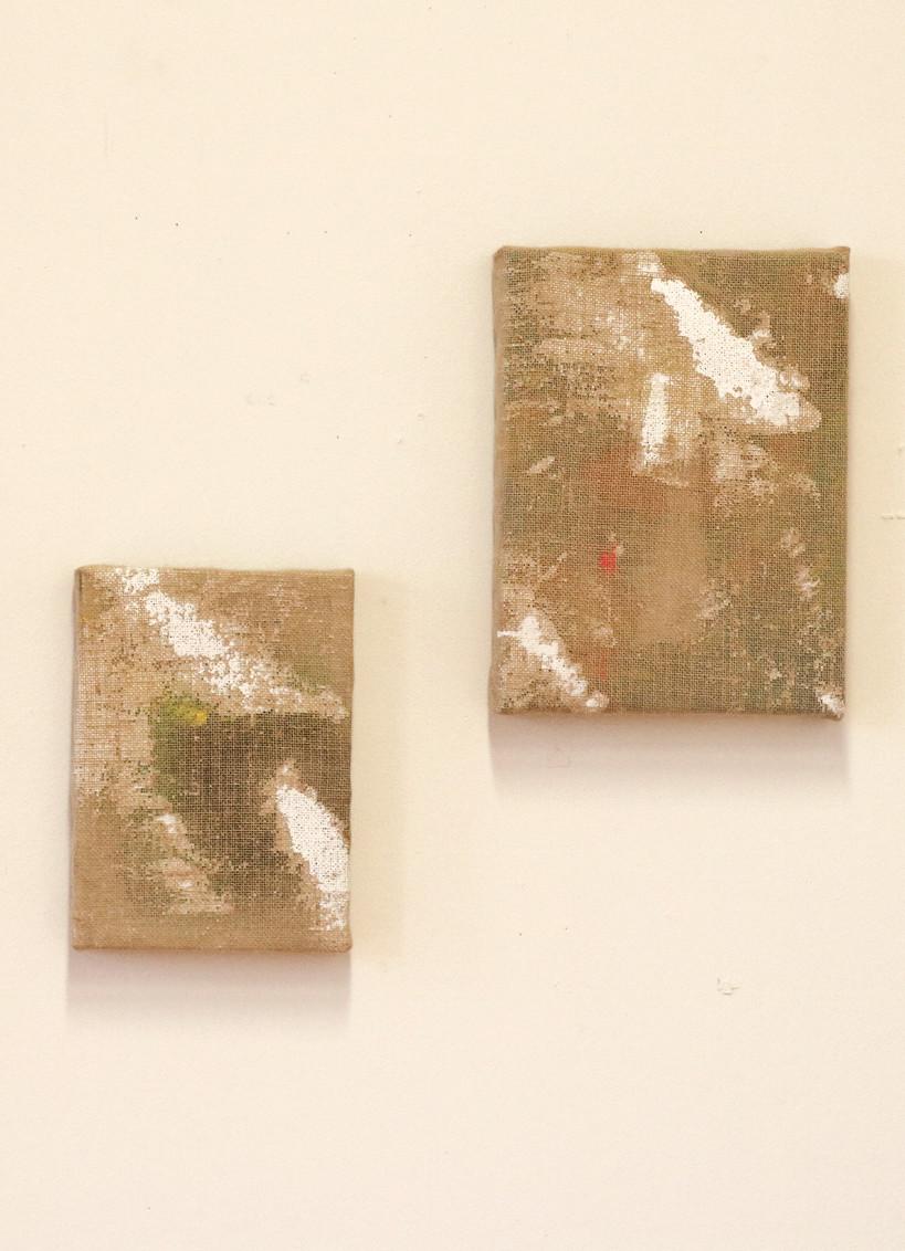 untitled(1,2), Ottokaji, 21.5x30.5, 30.5x40 (cm), Acrylic and oil on hessian, 2018 @Groenzaal