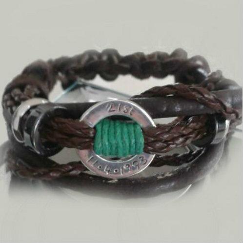 Personalised 21st Leather Bracelet
