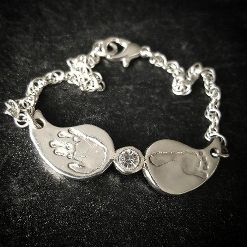 Handprint Footprint Angel Wings Bracelet